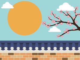 Clôture de mur en pierre de style japonais avec arbre de sakura sur fond vecteur