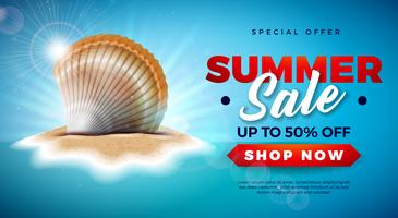 Conception de vente d'été avec Shell sur fond d'île tropicale. Illustration d'offre spéciale de vecteur avec paysage d'océan bleu pour le coupon