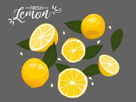 élément de vecteur de citron frais d'été