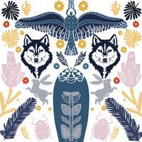 Motif de loup d'art populaire scandinave avec des oiseaux et des fleurs