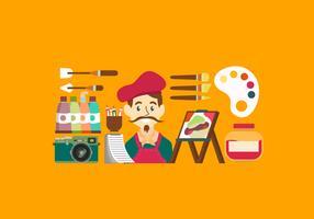 Illustration vectorielle d'outils d'artiste Starter Pack vecteur