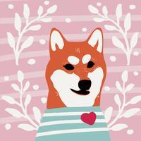 Kawaii chien de race shiba inu style de bande dessinée vecteur