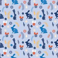 Motif imprimable d'art populaire scandinave avec des lapins et des fleurs