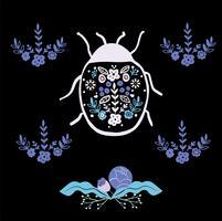 bug art populaire avec ornement élément floral style scandinave vecteur