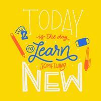 Lettrage coloré sur l'apprentissage et l'éducation avec les fournitures scolaires vecteur