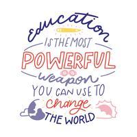 Lettrage coloré sur l'éducation avec un crayon, planète, soleil et lunettes.
