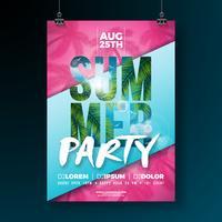 Vector Summer Party Flyer Design avec des fleurs et des feuilles de palmier tropical sur fond abstrait. Illustration de vacances d'été avec des plantes exotiques