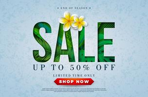 Conception de vente d'été avec oiseau Toucan, feuilles de palmier tropical et fleur sur fond vert. Illustration vectorielle offre spéciale avec des éléments de vacances d'été pour coupon