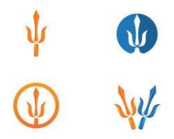 Modèle de logo et de symboles trident magique vecteur