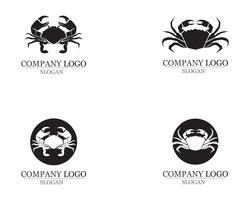 silhouettes de crabe sur les icônes de fond blanc vecteur