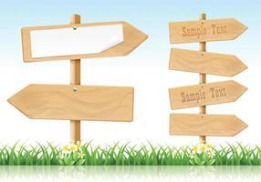 Vecteurs de signes de flèche en bois vecteur