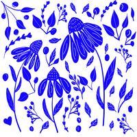 modèle mignon de vecteur ensemble floral dessinés à la main
