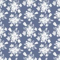 Modèle vectoriel sans soudure monochrome avec fleurs printanières. Patten floral.