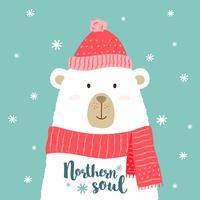 Illustration vectorielle d'ours mignon dessin animé dans un bonnet et une écharpe chauds avec lettrage écrit à la main -Northern Soul - pour des pancartes, des estampes de t-shirt, des cartes de voeux de Noël.