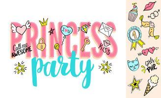 Lettrage Princess Party avec des griffonnages de filles et des phrases dessinées à la main pour la conception de cartes de Saint Valentin, impression de t-shirt pour fille. Slogan de la partie princesse dessiné à la main.