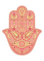 Symbole de Hamsa dessiné à la main. Main de Fatima. Amulette ethnique commune aux cultures indienne, arabe et juive. Symbole de Hamsa coloré avec ornement floral oriental. vecteur