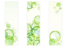 Vecteurs de bannières florales aux cercles verts frais vecteur
