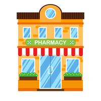 Illustration vectorielle de bâtiment rétro avec pharmacie. Façade d'une maison rétro dans un style plat. Immeuble de ville à deux étages avec pharmacie.