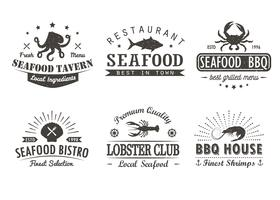 Ensemble de fruits de mer vintage, barbecue, modèles de logo grill, insignes et éléments de conception. Collection de logotypes pour magasin de fruits de mer, café, restaurant. Illustration vectorielle Style hipster et rétro.