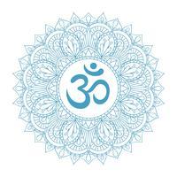 Symbole Aum Om Ohm dans l'ornement décoratif mandala rond.