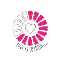 Barre de progression ronde avec inscription - Love is loading et coeur en style fragmentaire. Illustration vectorielle pour la conception de t-shirt, des affiches ou des cartes de la Saint-Valentin. vecteur