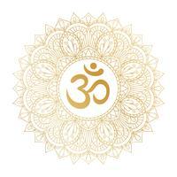Symbole doré Aum Om Ohm dans un ornement décoratif mandala rond. vecteur
