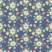 Modèle vectoriel coloré sans couture avec des fleurs printanières.
