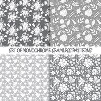 Ensemble de modèles vectoriels monochromes sans soudure. Modèles floraux. Modèles vectoriels sans soudure monochromes. Arrière-plans monochromes de vecteur. Ensemble d'ornements textiles sans soudure vectoriel floral. Répéter JPG floral.