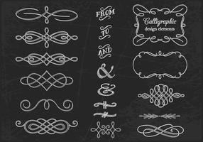 Vecteurs calligraphiques dessinés à la craie