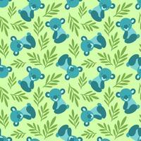 Modèle sans couture avec les ours et les feuilles de koala mignon. Répétant l'arrière-plan pour les imprimés textiles pour enfants, le papier d'emballage. Motif animalier vecteur