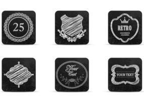 Vecteurs d'icônes d'étiquettes rétro dessinées à la craie vecteur