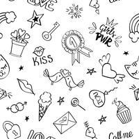 Modèle sans couture avec doodles girly dessinés à la main. vecteur