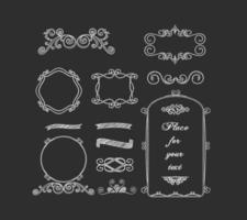 Curly Chalk Frames & Borders Vectors