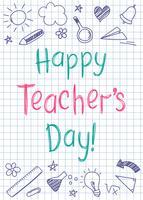 Carte de voeux bonne journée des enseignants sur la feuille de cahier au carré dans le style Sommaire avec des étoiles et des coeurs dessinée à la main. vecteur