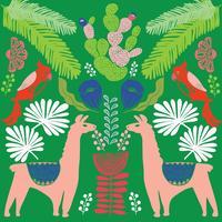 Illustration avec des plantes de lama et cactus. Modèle sans couture de vecteur sur fond botanique. Carte de voeux avec alpaga. Modèle sans couture