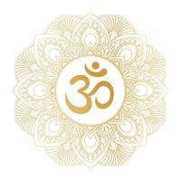 Symbole Aum Om Ohm doré sur un ornement décoratif en mandala rond, idéal pour les imprimés de t-shirts, les affiches, les créations textiles et les articles de typographie.
