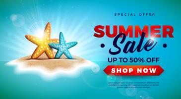 Conception de vente d'été avec étoile de mer sur fond d'île tropicale. Illustration vectorielle offre spéciale avec paysage océan bleu