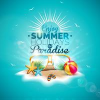 Profitez de l'illustration de vacances d'été avec lettre de typographie et lunettes de soleil sur fond bleu de l'océan. Conception de vecteur avec étoile de mer et ballon de plage sur Paradise Island