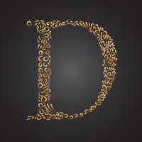 Lettre D Ornement Floral Doré
