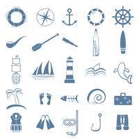 océan ligne art icônes définies