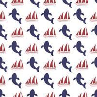 Modèle sans couture nautique avec navire et baleine.