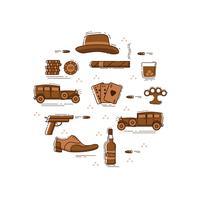 Mafia ligne art symboles en cercle vecteur