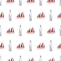Modèle sans couture nautique avec bateau et bouteille.