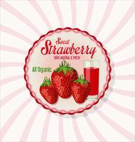 Fond de verre fraise et jus frais vecteur