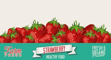 Fond vintage rétro fraise vecteur