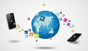 Concept technologique de connexion d'application moderne
