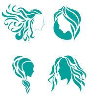 Symbole d'icône de mode cheveux de beauté féminine vecteur