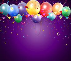 Conception d'anniversaire avec ballon et confettis vecteur