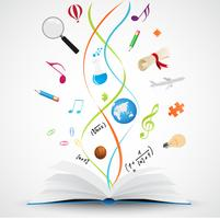 Livre ouvert avec l'icône de la science vecteur