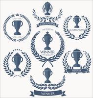 Collection de badges et étiquettes de trophées et récompenses